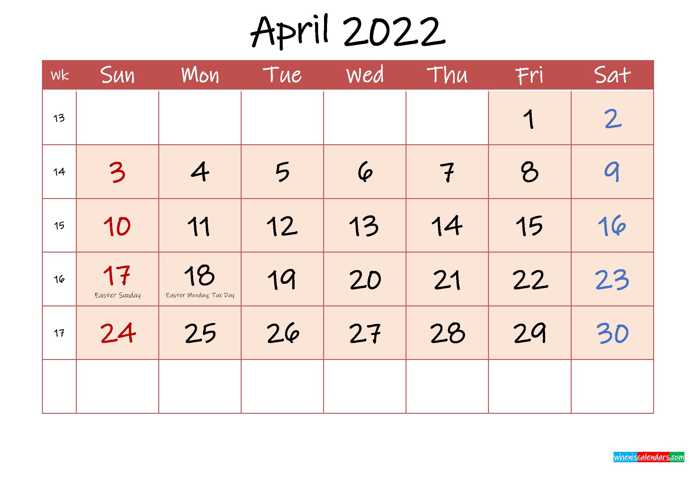 April 2022 Free Printable Calendar With Holidays pertaining to Print Calendar April 2022