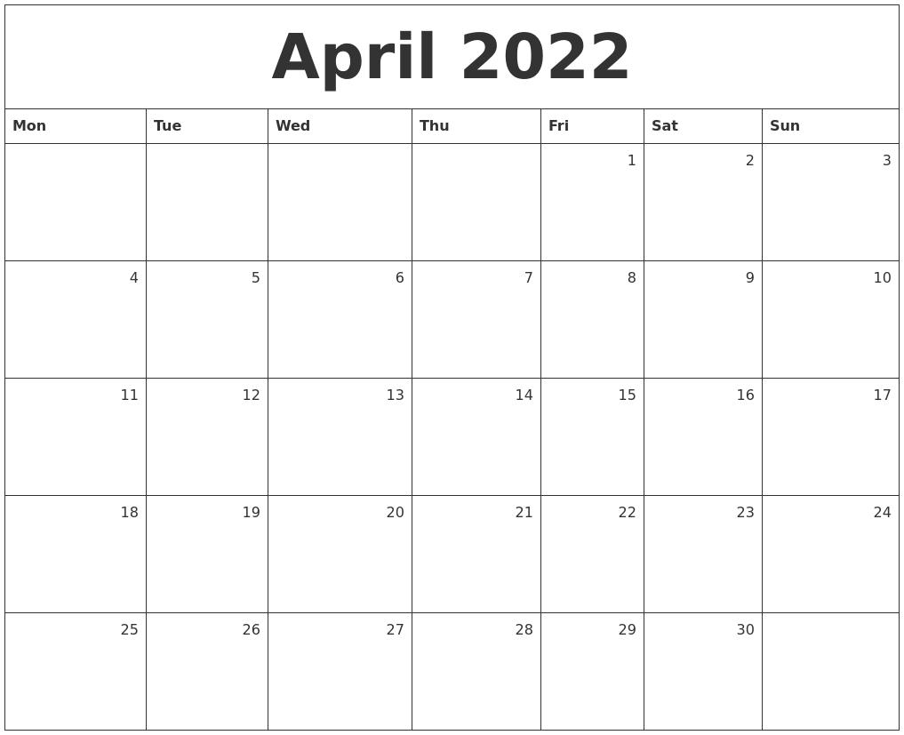 April 2022 Monthly Calendar in Print Calendar April 2022 Photo