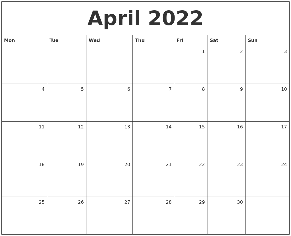 April 2022 Monthly Calendar regarding Printable Monthly Calendar April 2022