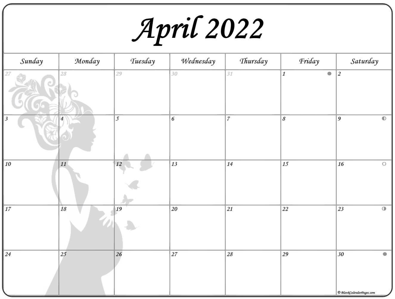 April 2022 Pregnancy Calendar | Fertility Calendar throughout 2022 April Calendar Free Printable