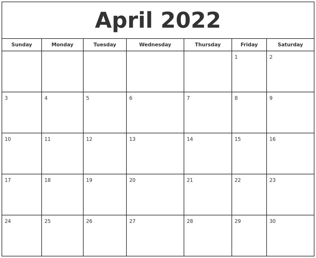 April 2022 Print Free Calendar pertaining to April Calendar 2022 Free Printable Graphics