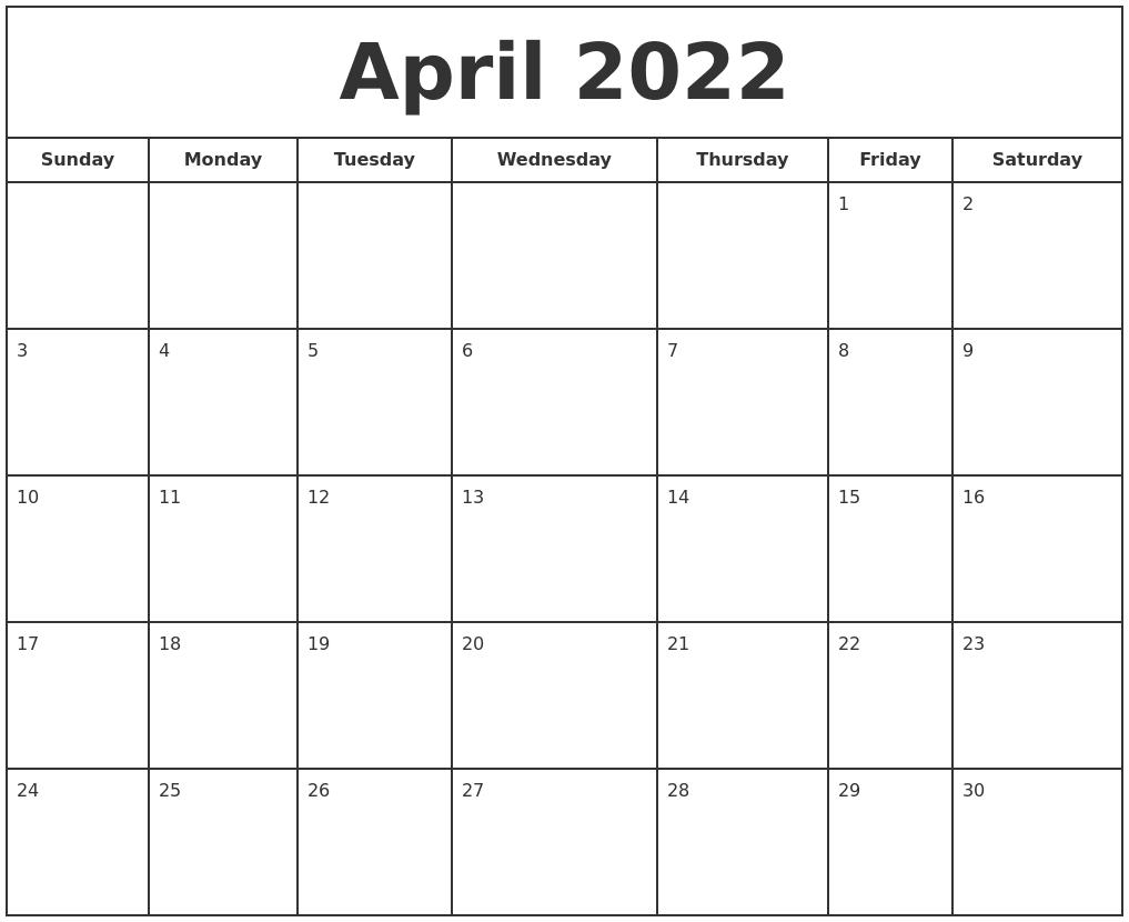 April 2022 Print Free Calendar regarding April 2022 Calendar To Print