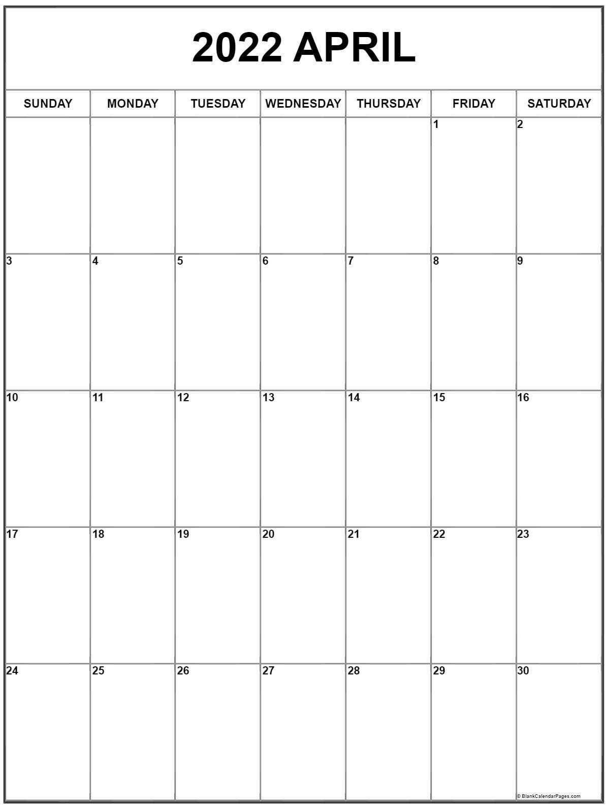 April 2022 Vertical Calendar | Portrait within Printable April 2022 Calendar