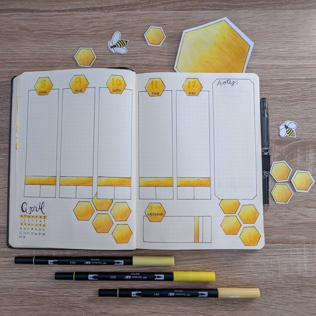 April Bullet Journal: Bees And Honeycombs In 2020 (With throughout April Bullet Journal Theme