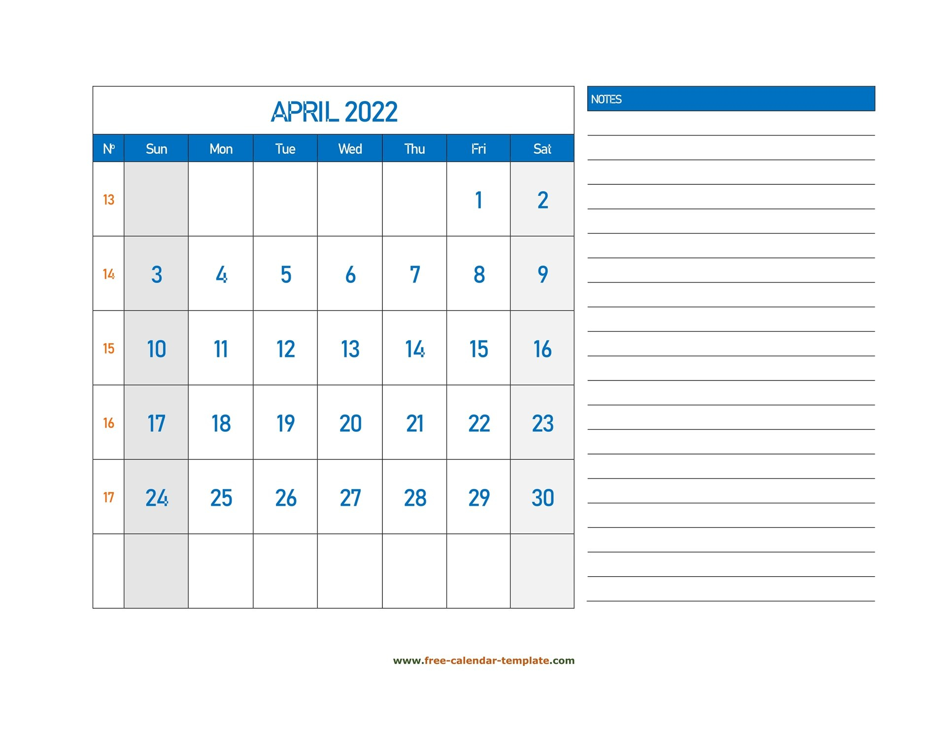 April Calendar 2022 Grid Lines For Holidays And Notes with Printable Monthly Calendar April 2022 Graphics