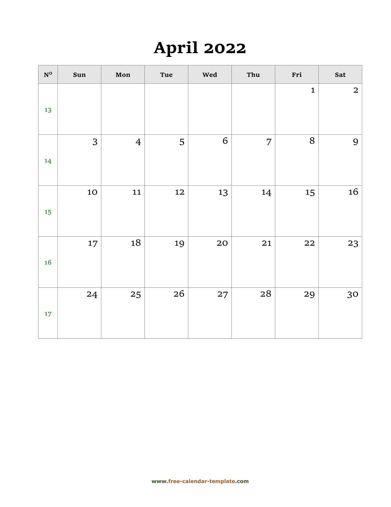April Calendar 2022 Simple Design With Large Box On Each inside April 2022 Printable Calendar Free 2022 Graphics