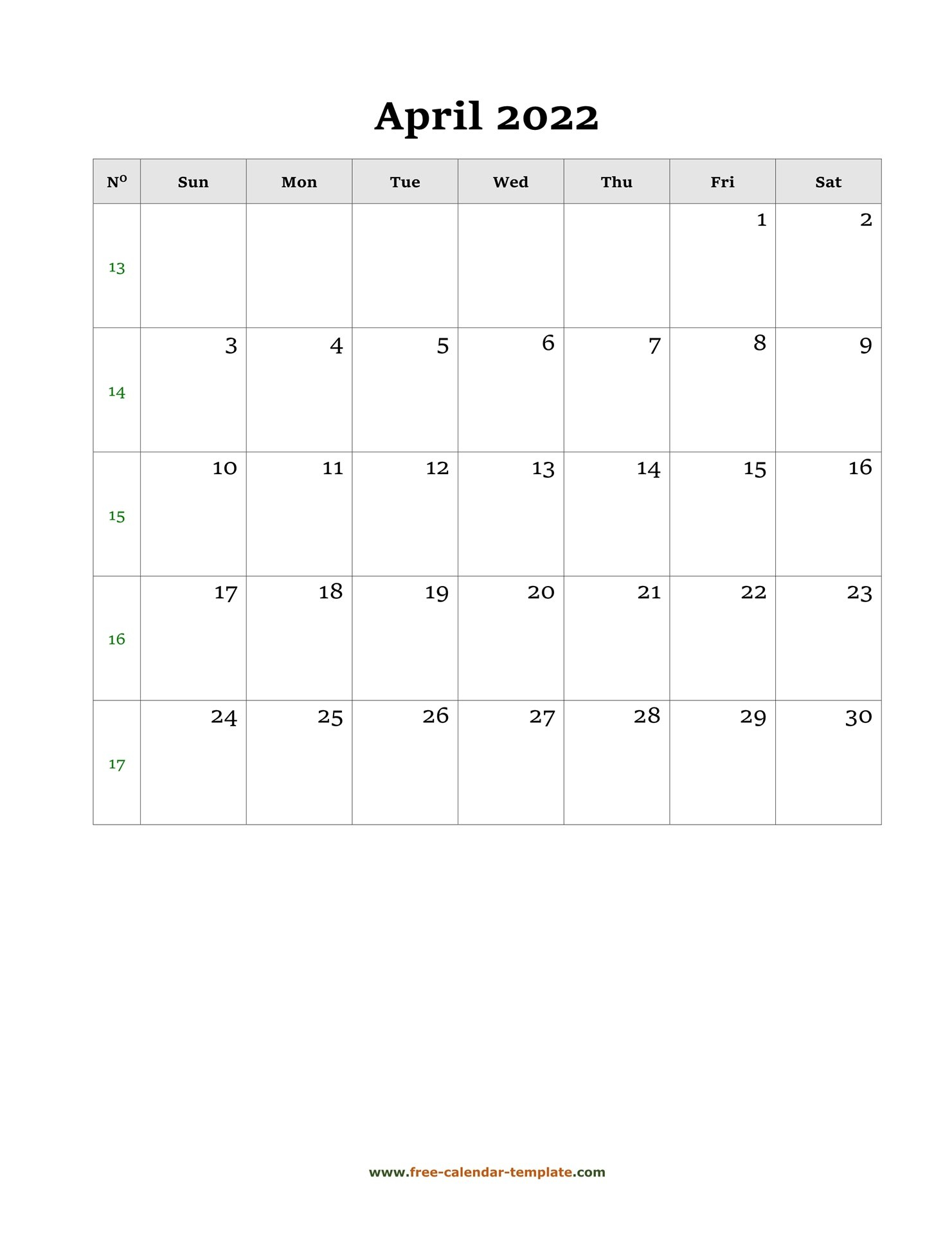 April Calendar 2022 Simple Design With Large Box On Each with April 2022 Calendar To Print