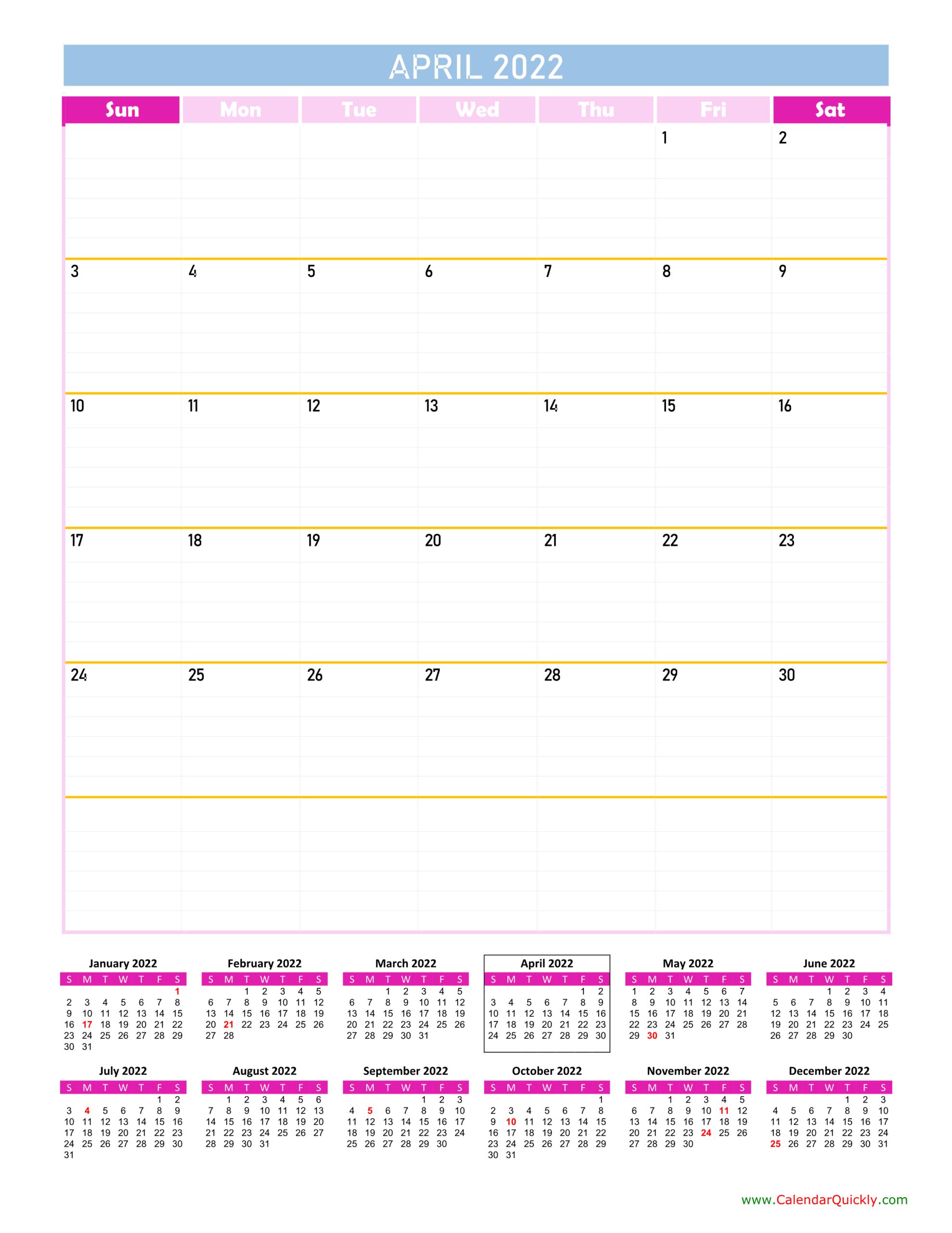 April Calendar 2022 Vertical | Calendar Quickly intended for April May Calendar 2022 Photo