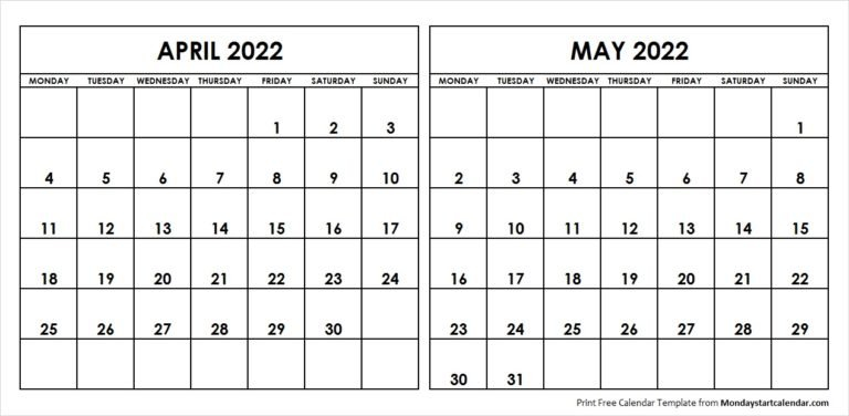 April May 2022 Calendar Monday Start | Editable Two Months with April May Calendar 2022