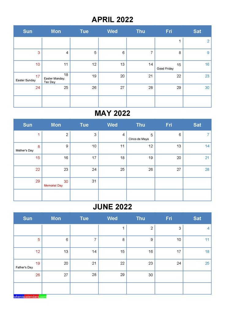 April May June 2022 Calendar With Holidays [Four Quarters inside March & April 2022 Calendar Free Printable Image