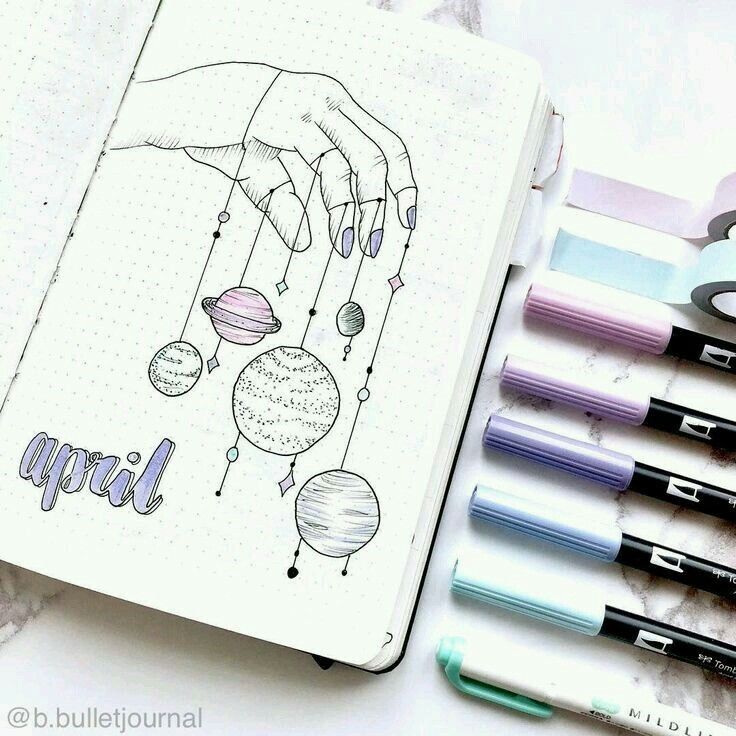 April   Pinterest: @Aalaaaatya ♡   Bullet Journal Themes for Bullet Journal April Layouts
