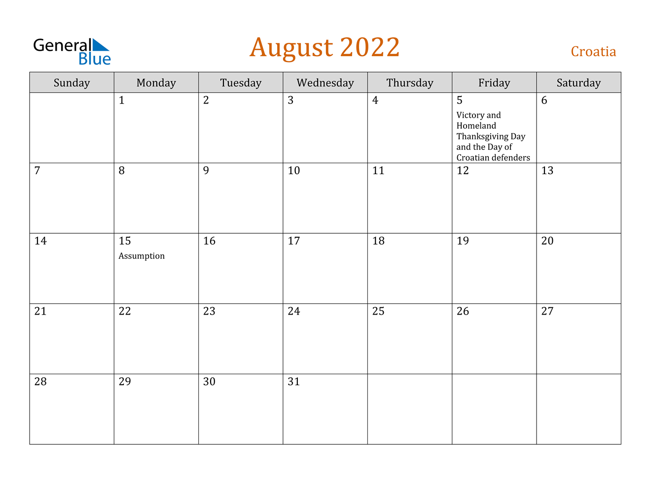 August 2022 Calendar - Croatia regarding Printable Monthly Calendar August 2022