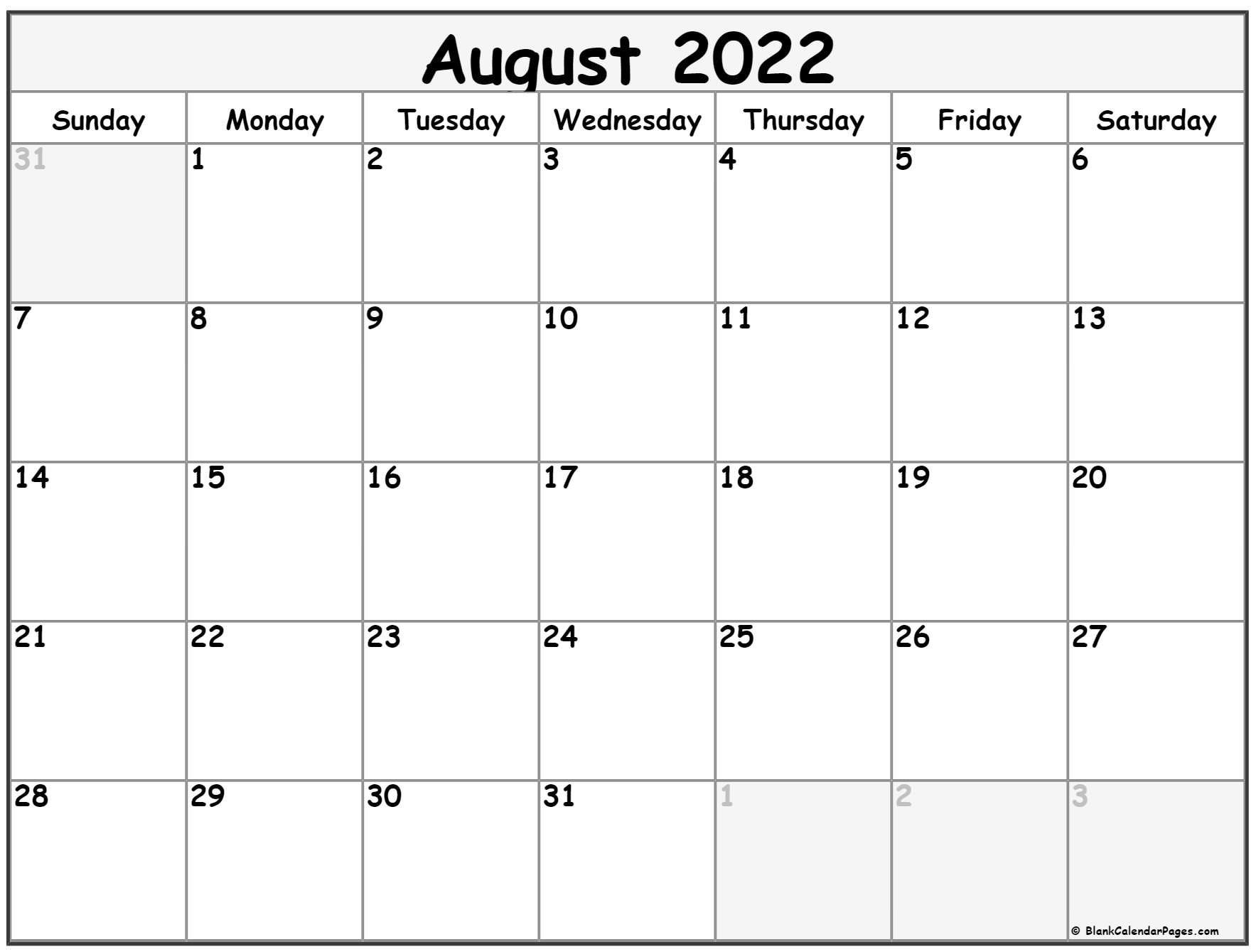 August 2022 Calendar   Free Printable Calendar Templates with Printable 2022 August Calendar Photo
