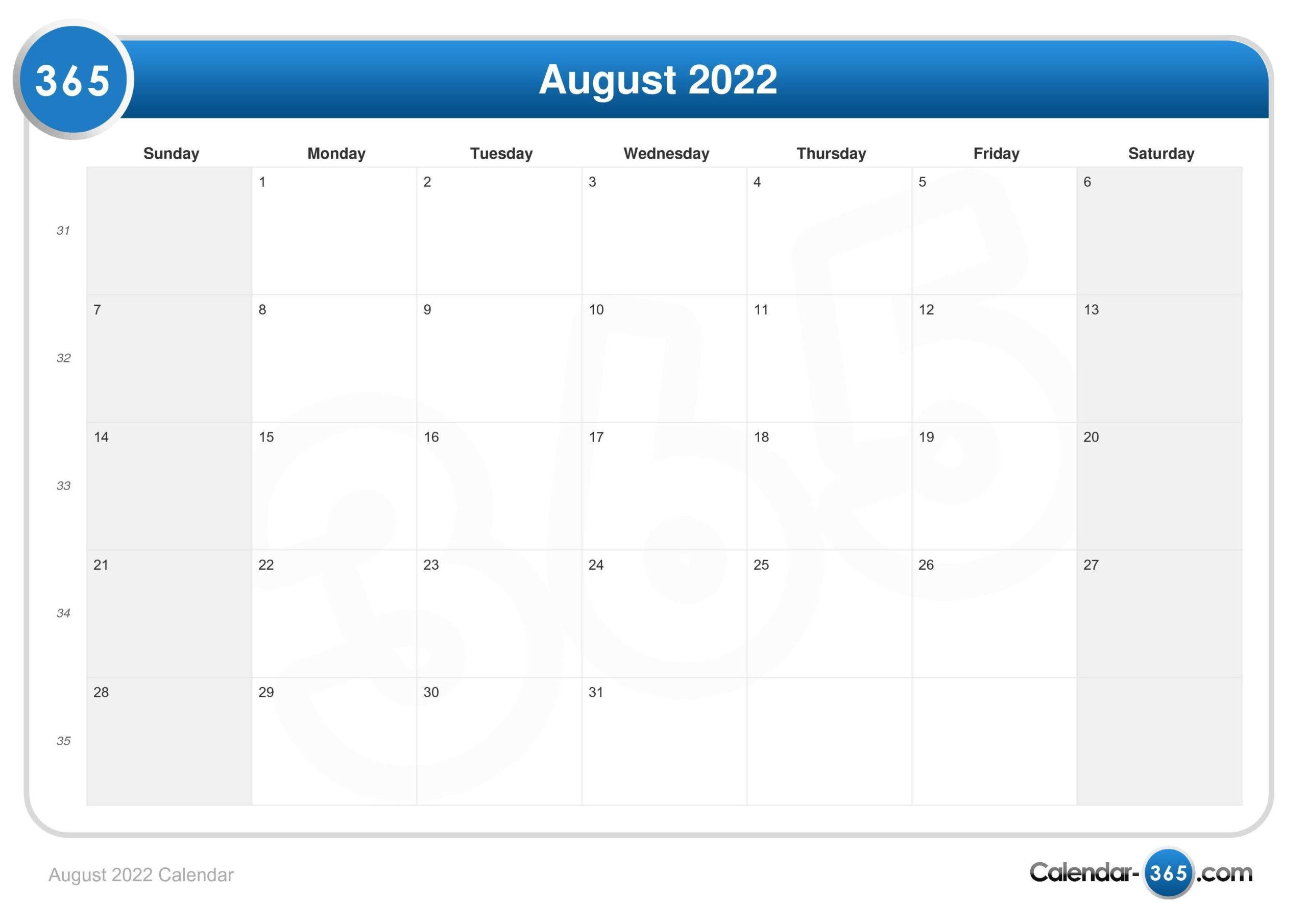 August 2022 Calendar throughout Printable Monthly Calendar August 2022 Photo