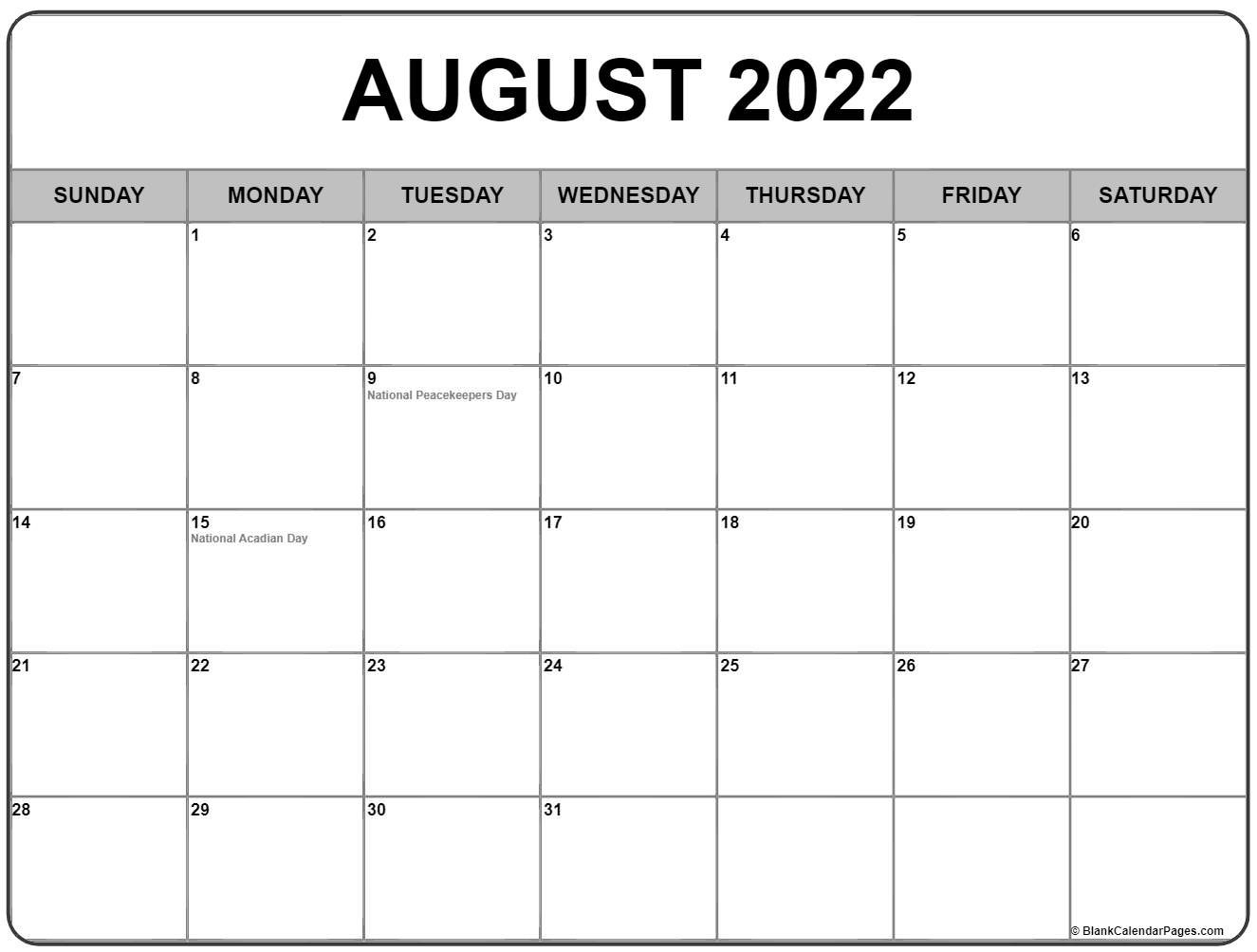 August 2022 Calendar With Holidays pertaining to Printable 2022 August Calendar