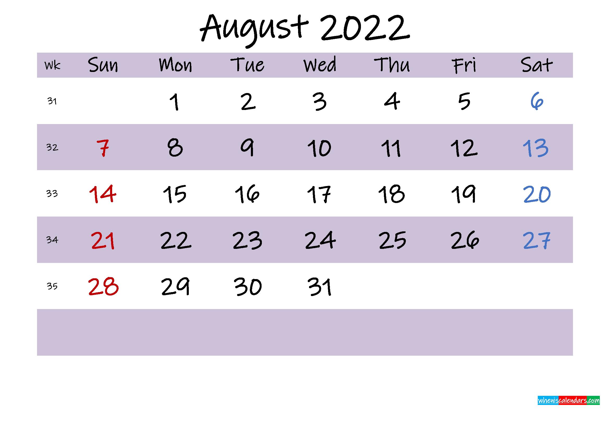 August 2022 Calendar With Holidays Printable - Template No for Printable 2022 August Calendar Photo