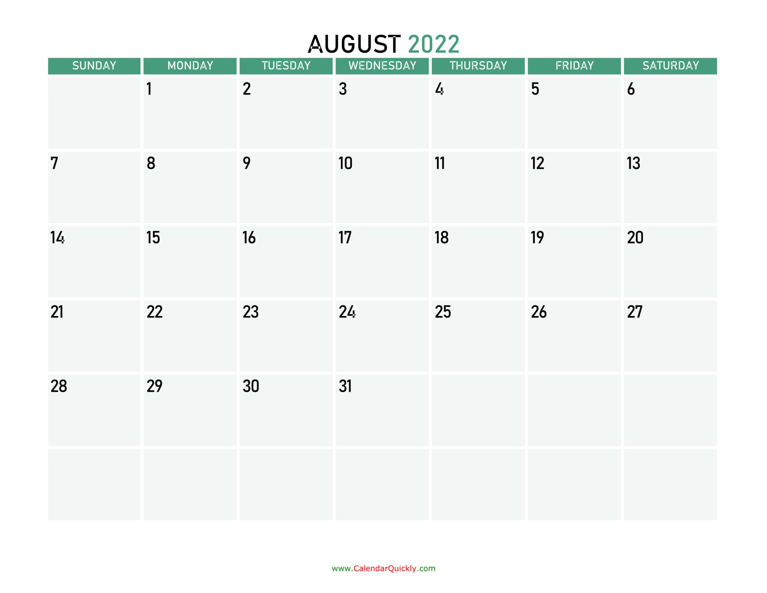 August 2022 Calendars | Calendar Quickly for Printable August And September 2022 Calendar
