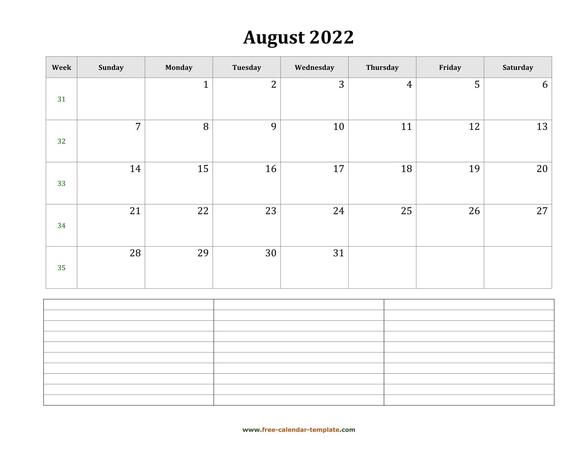 August 2022 Free Calendar Tempplate   Free-Calendar inside Free Printable Calendar August 2022 Graphics