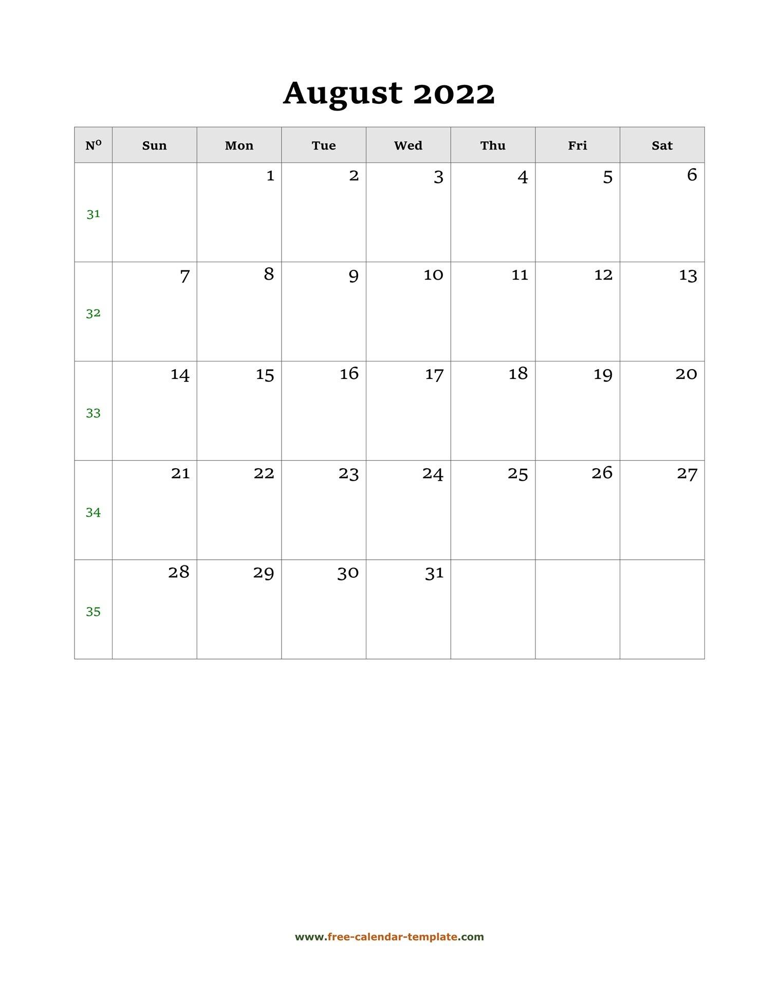 August 2022 Free Calendar Tempplate   Free-Calendar with Free Printable Calendar August 2022