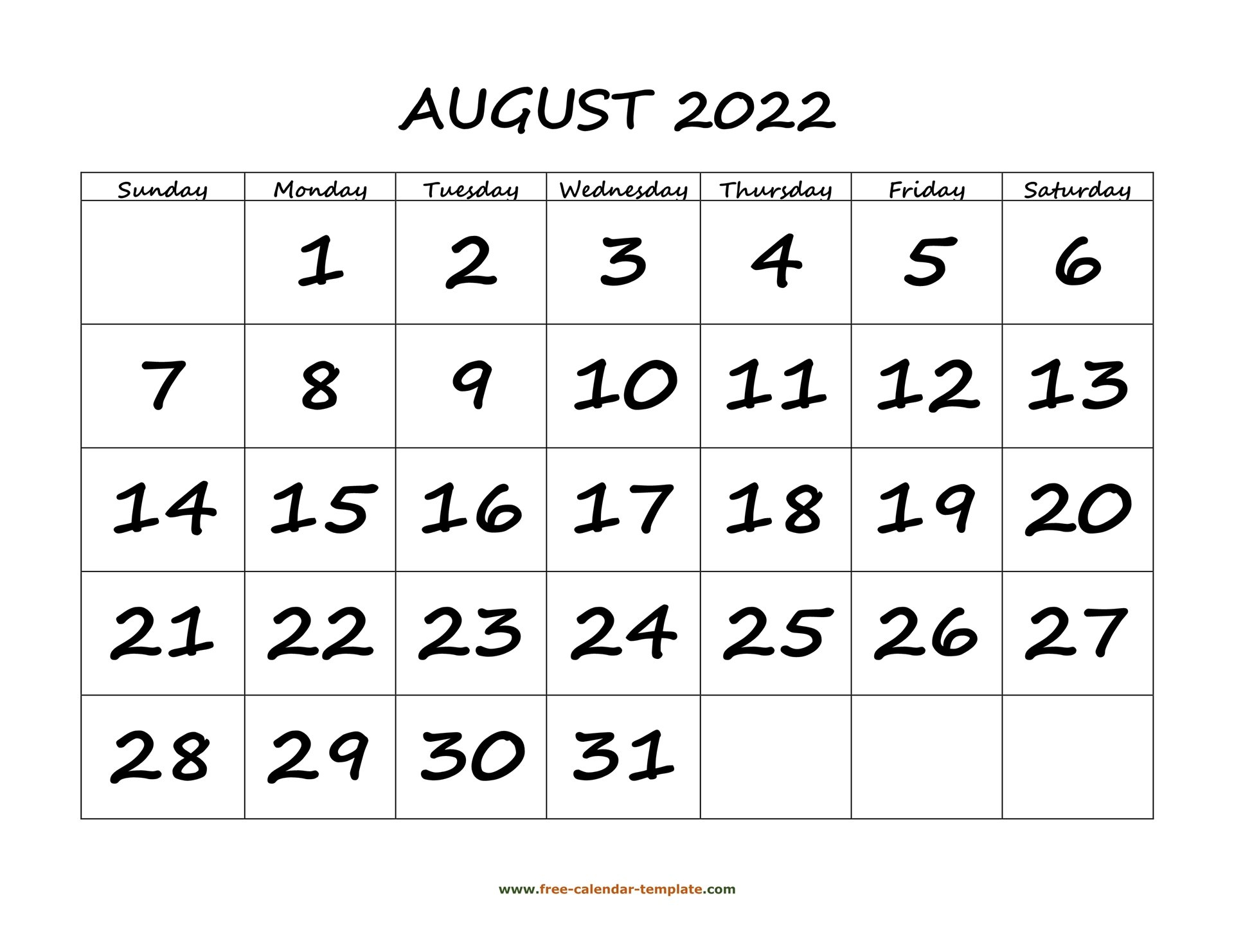 August 2022 Free Calendar Tempplate   Free-Calendar within Printable 2022 August Calendar