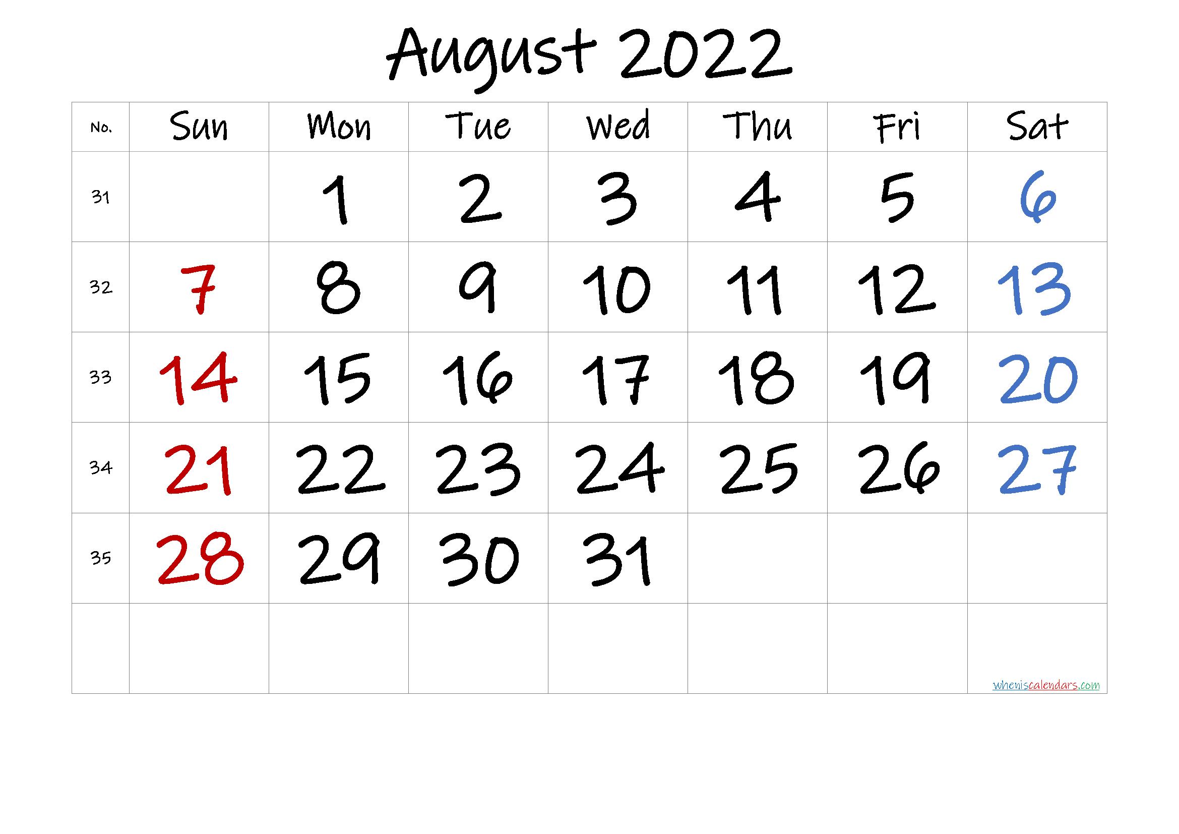 August 2022 Printable Calendar With Holidays - 6 Templates inside Printable Monthly Calendar August 2022 Photo