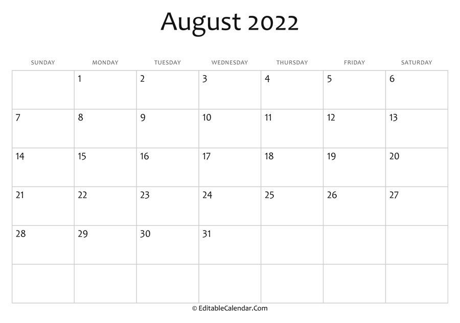 August 2022 Printable Calendar With Holidays intended for Printable Monthly Calendar August 2022 Photo