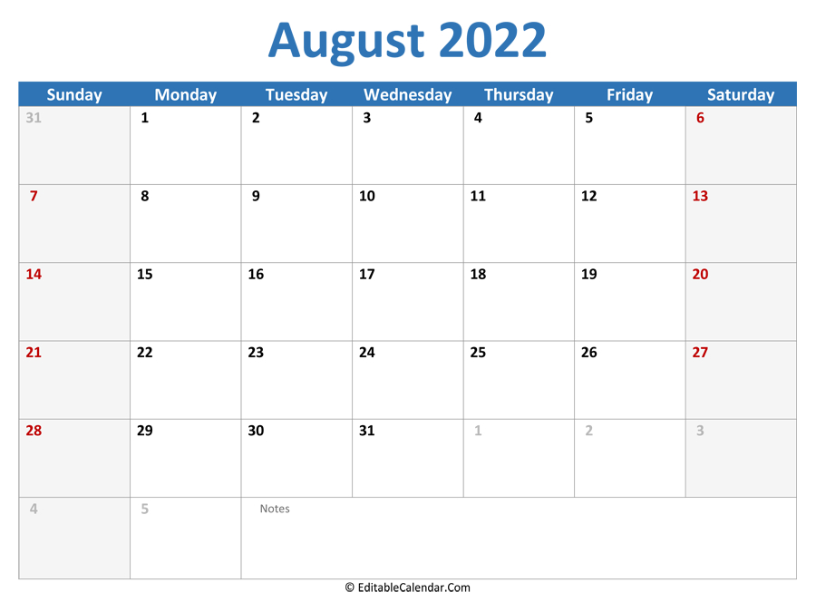August 2022 Printable Calendar With Holidays within Free Printable Calendar August 2022 Graphics