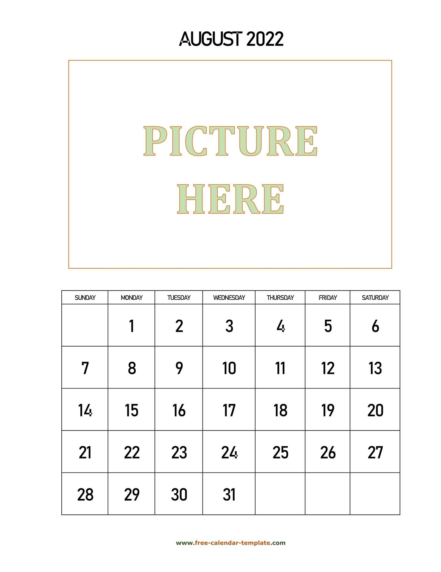 August Printable 2022 Calendar, Space For Add Picture within Printable Monthly Calendar August 2022
