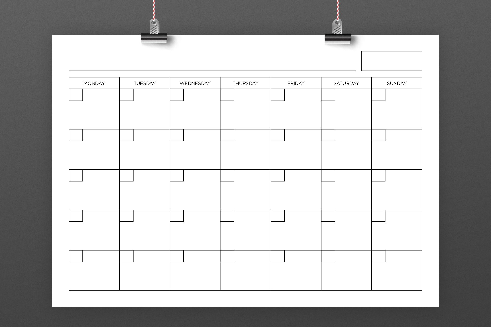 Blank Calendar Page Template Set in Blank Month Planner Template
