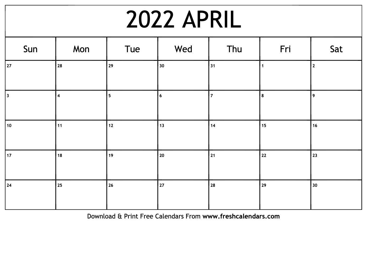 Blank Printable April 2022 Calendars within April May 2022 Printable Calendar