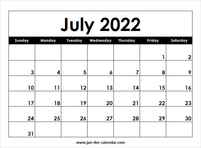 Blank Printable July Calendar 2022 Template Free in Blank Calendar Template July 2022 Image