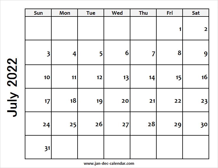 Blank Printable July Calendar 2022 Template Free intended for Blank Calendar Template July 2022 Image