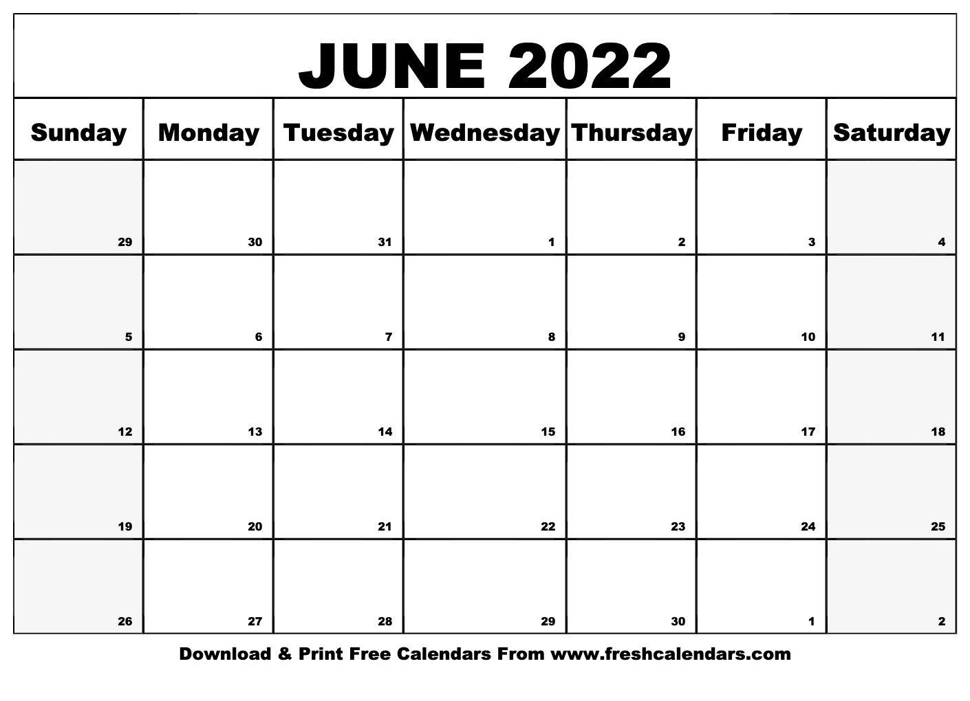 Blank Printable June 2022 Calendars regarding Monthly Calendar September 2022