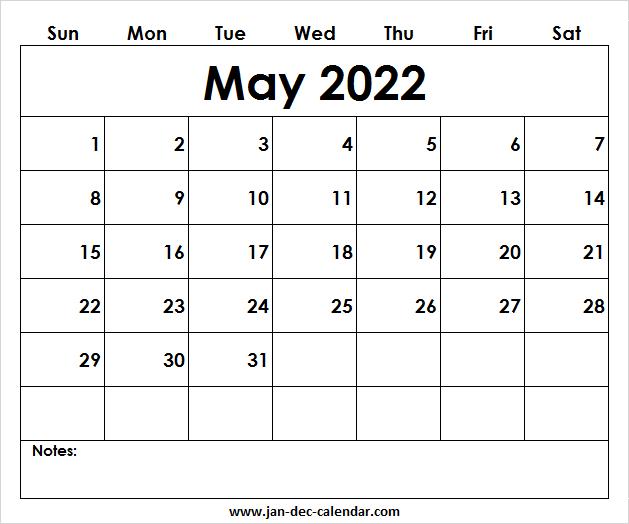 Blank Printable May Calendar 2022 Template Free within May 2022 Calendar Template