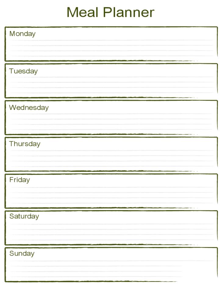 Blank Weekly Meal Planner Template Free Download for Blank Weekly Planner Template