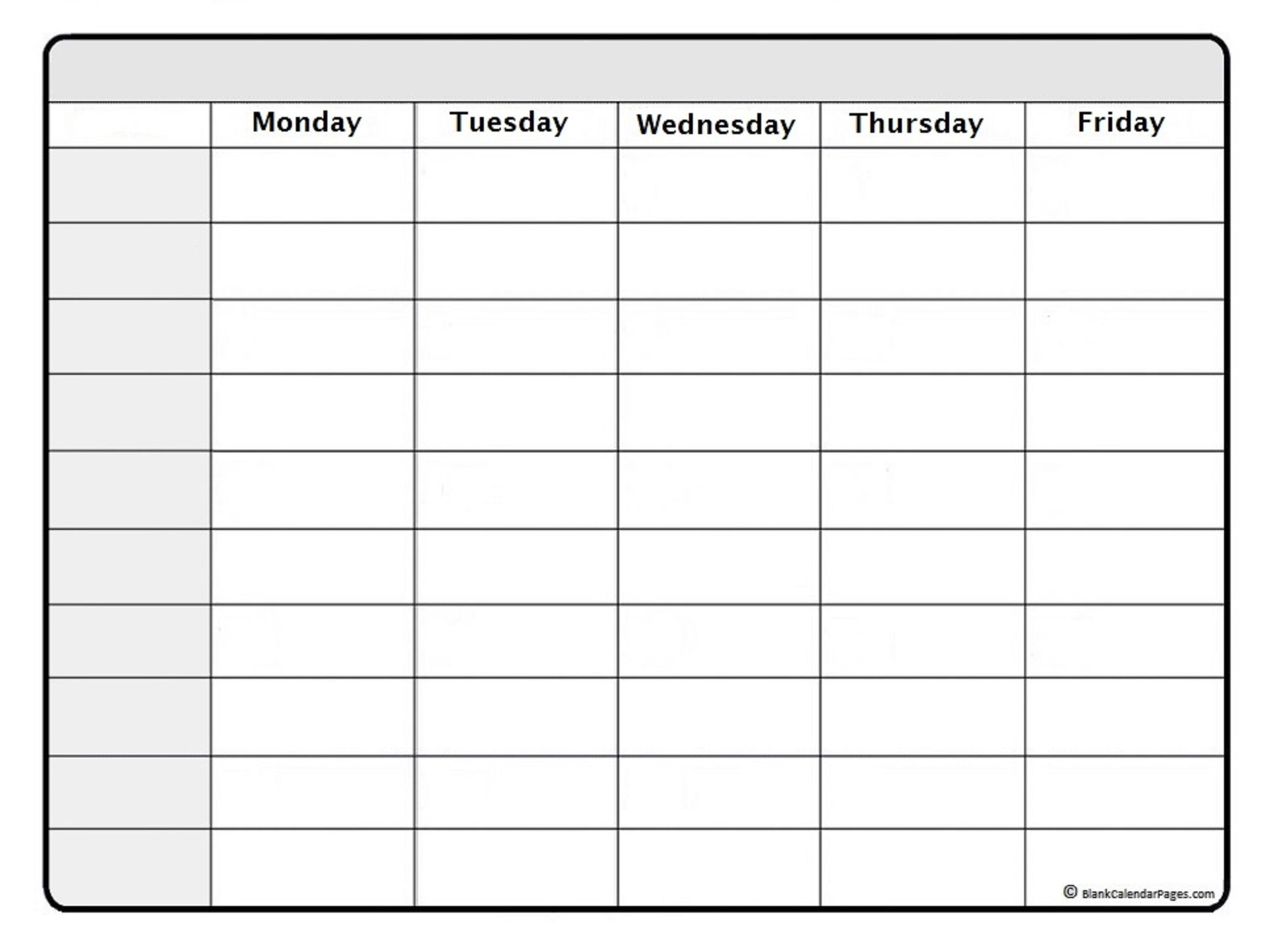 Blank Weekly Schedule Template Printable - Calendar throughout Blank Month Planner Template Graphics