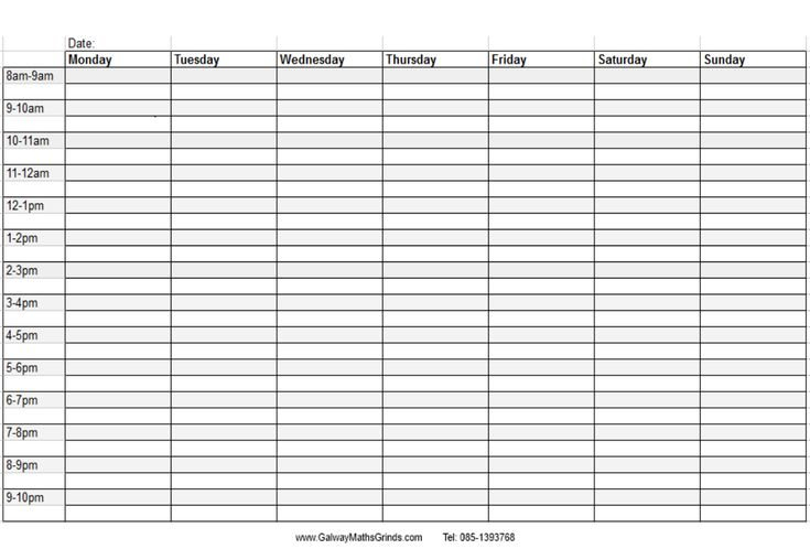 Blank+Weekly+Calendar+Template+With+Times   Timetable inside Blank Weekly Planner Template Graphics