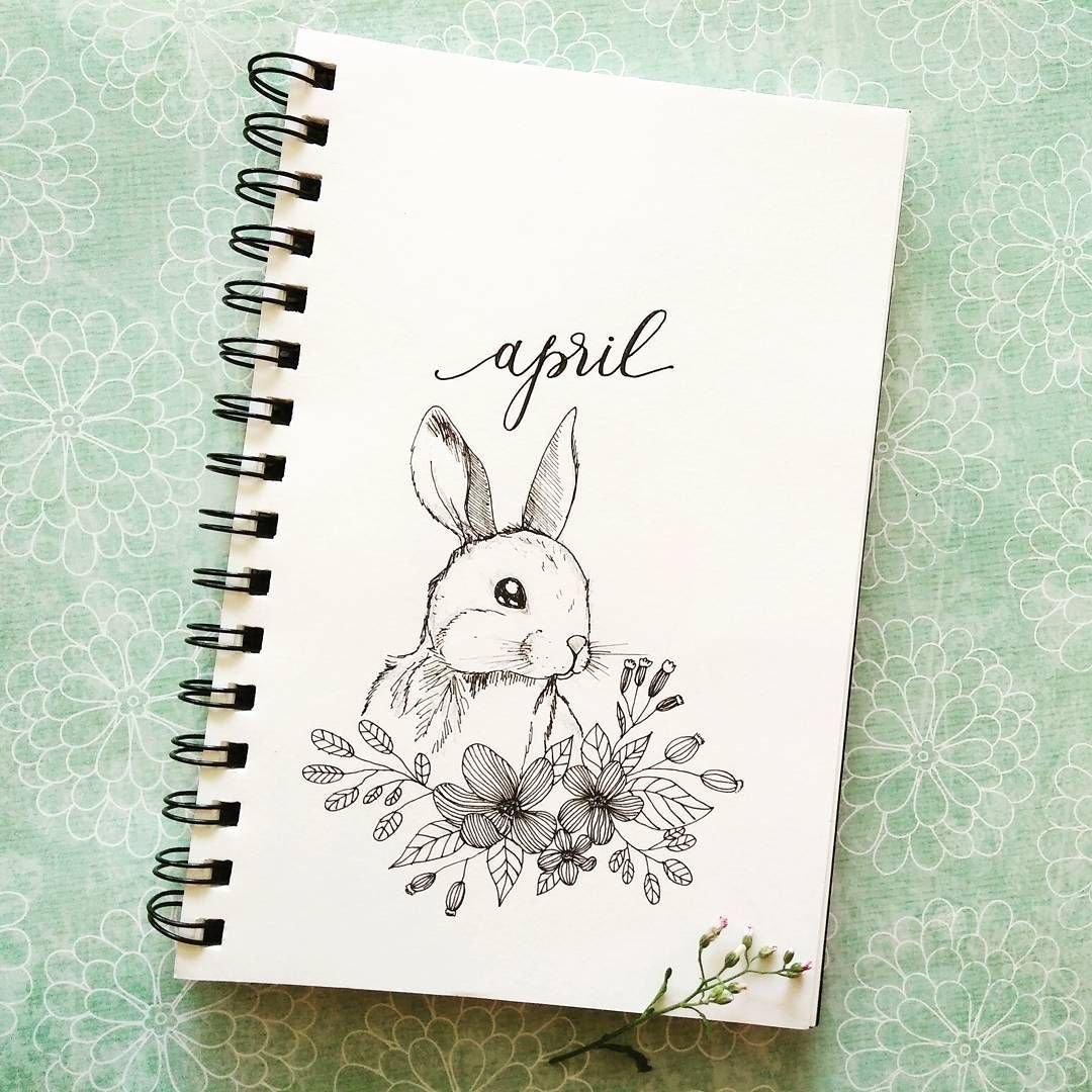 Bullet Journal Monthly Cover Page, April Cover Page, Bunny pertaining to Printable Bullet Journal April Cover Page