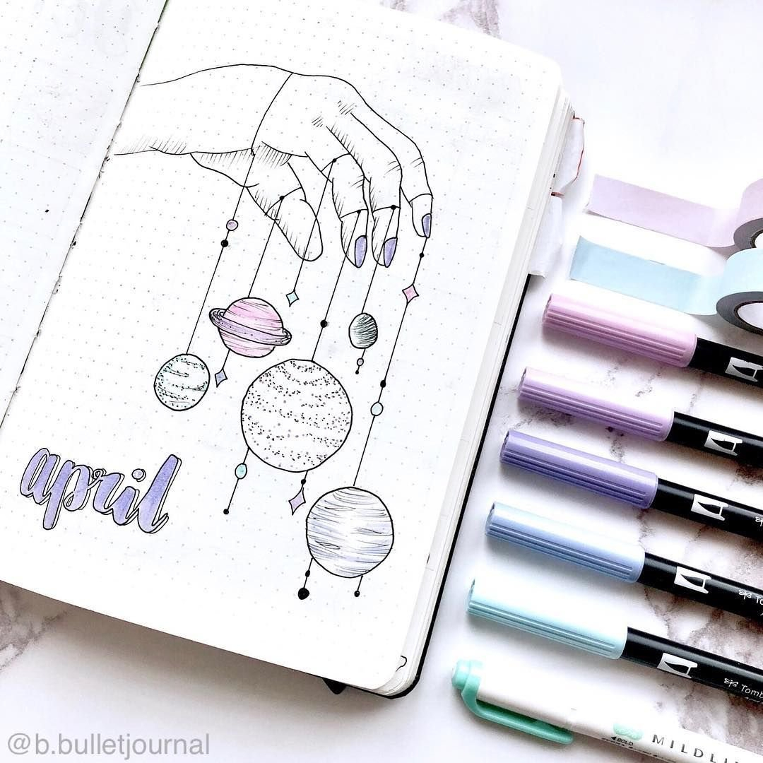 Bullet Journal Monthly Cover Page, April Cover Page, Hand with April Bullet Journal Spread Ideas Graphics