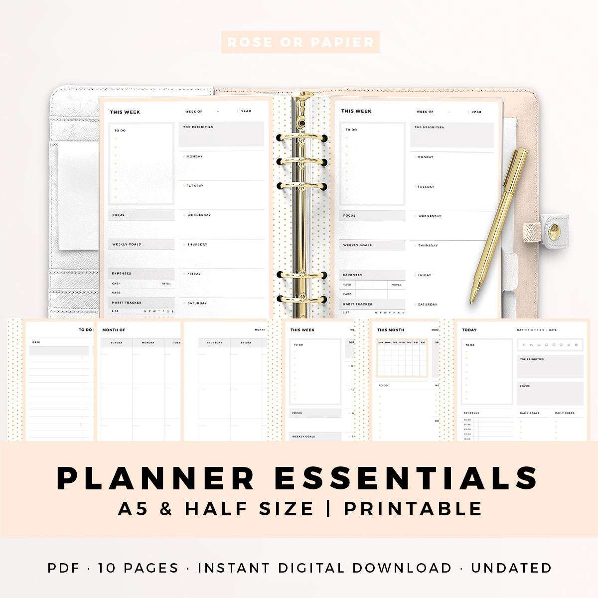 Bundle A5 Half Size Printable Planner Inserts Planner   Etsy pertaining to What Are The Measurements Of An A5 Planner