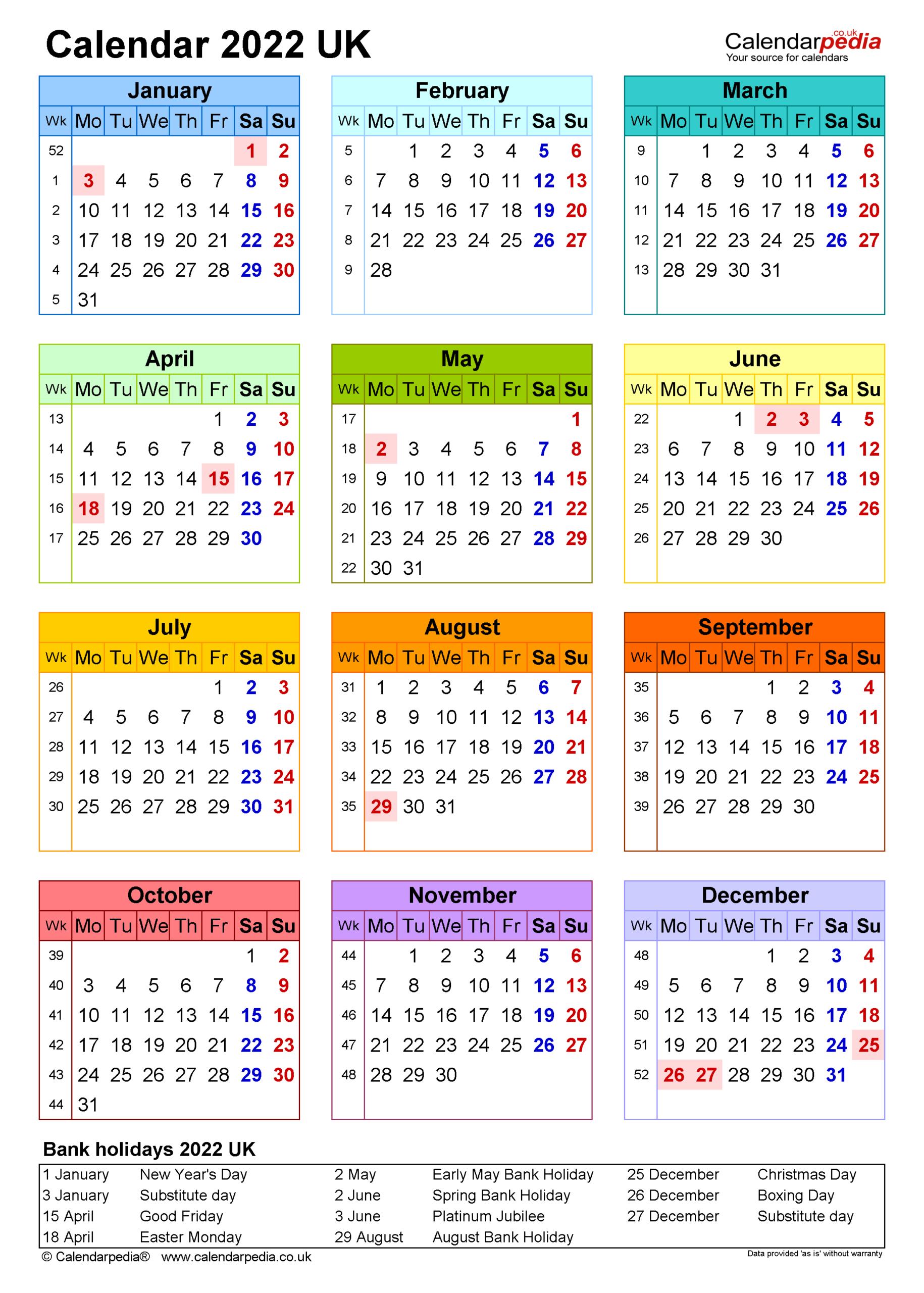 Calendar 2022 (Uk) - Free Printable Pdf Templates for Planner 2022 Printable Goal Image