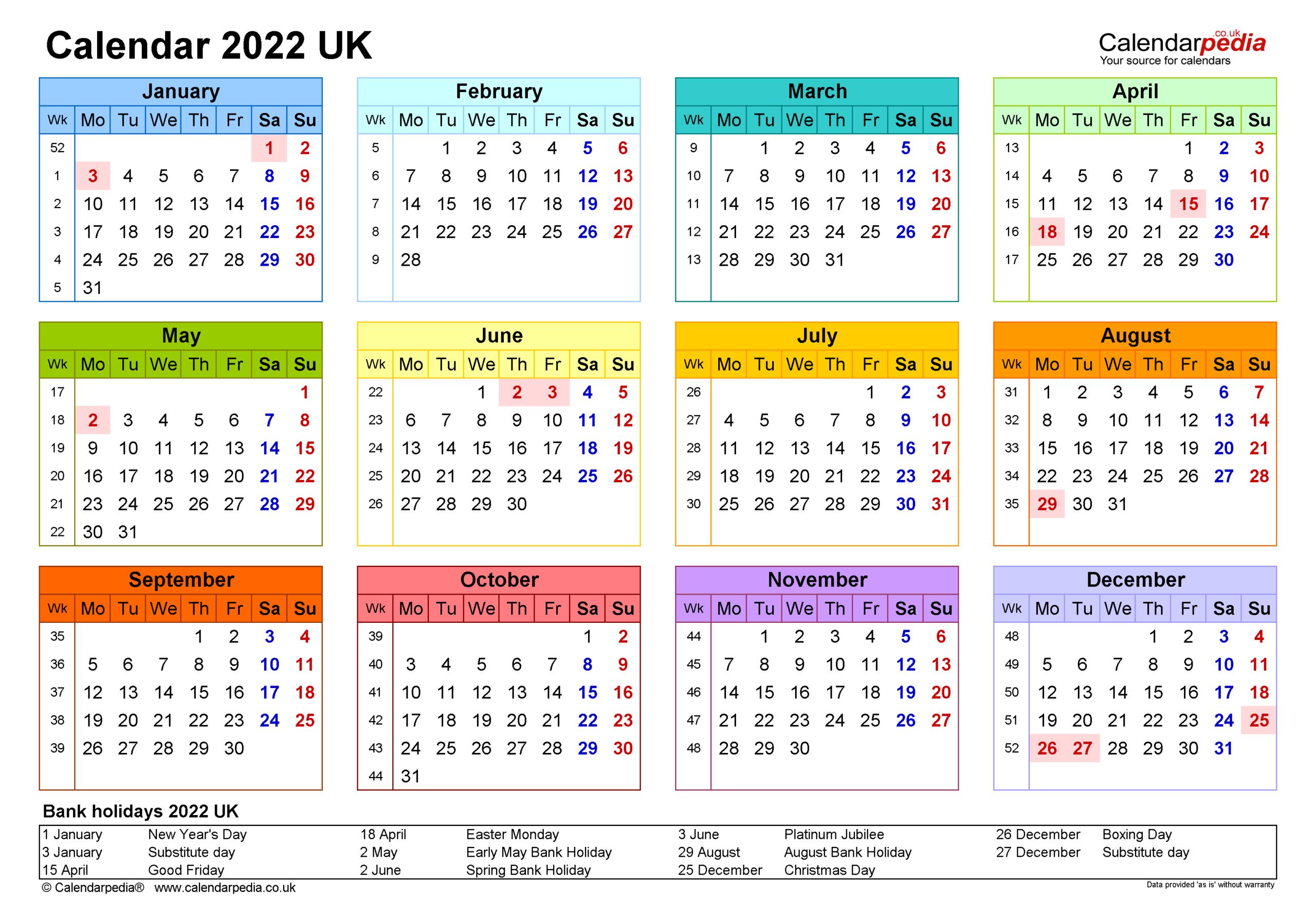 Calendar 2022 (Uk) - Free Printable Pdf Templates regarding Printable Monthly Planner Pages 2022 Photo