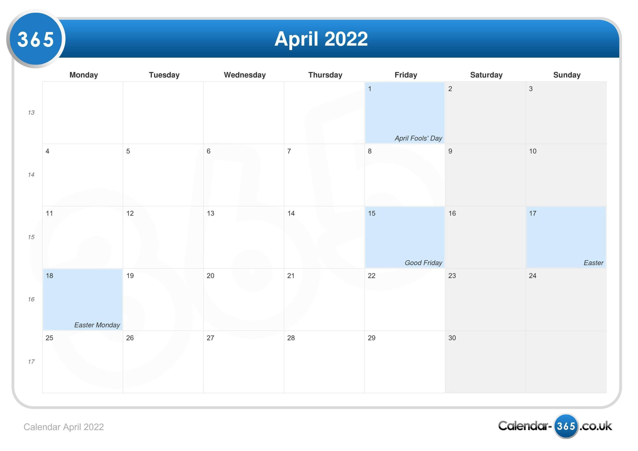Calendar April 2022 for Calendar 2022 April Print Now Graphics