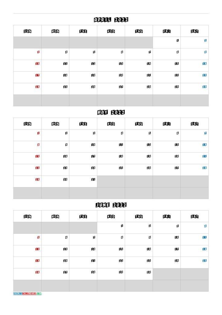 Calendar April May June 2022 [Q1-Q2-Q3-Q4]   Calendar pertaining to March April May 2022 Calendar Printable Graphics