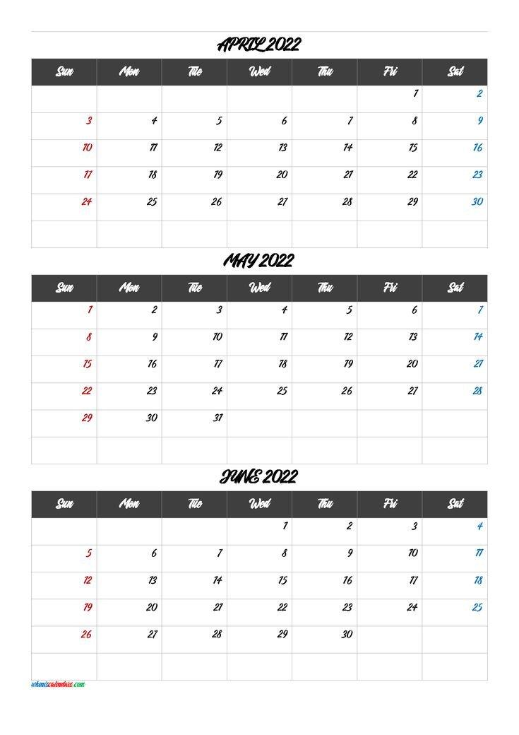 Calendar April May June 2022 [Q1-Q2-Q3-Q4]   Calendar with March April May 2022 Calendar Printable