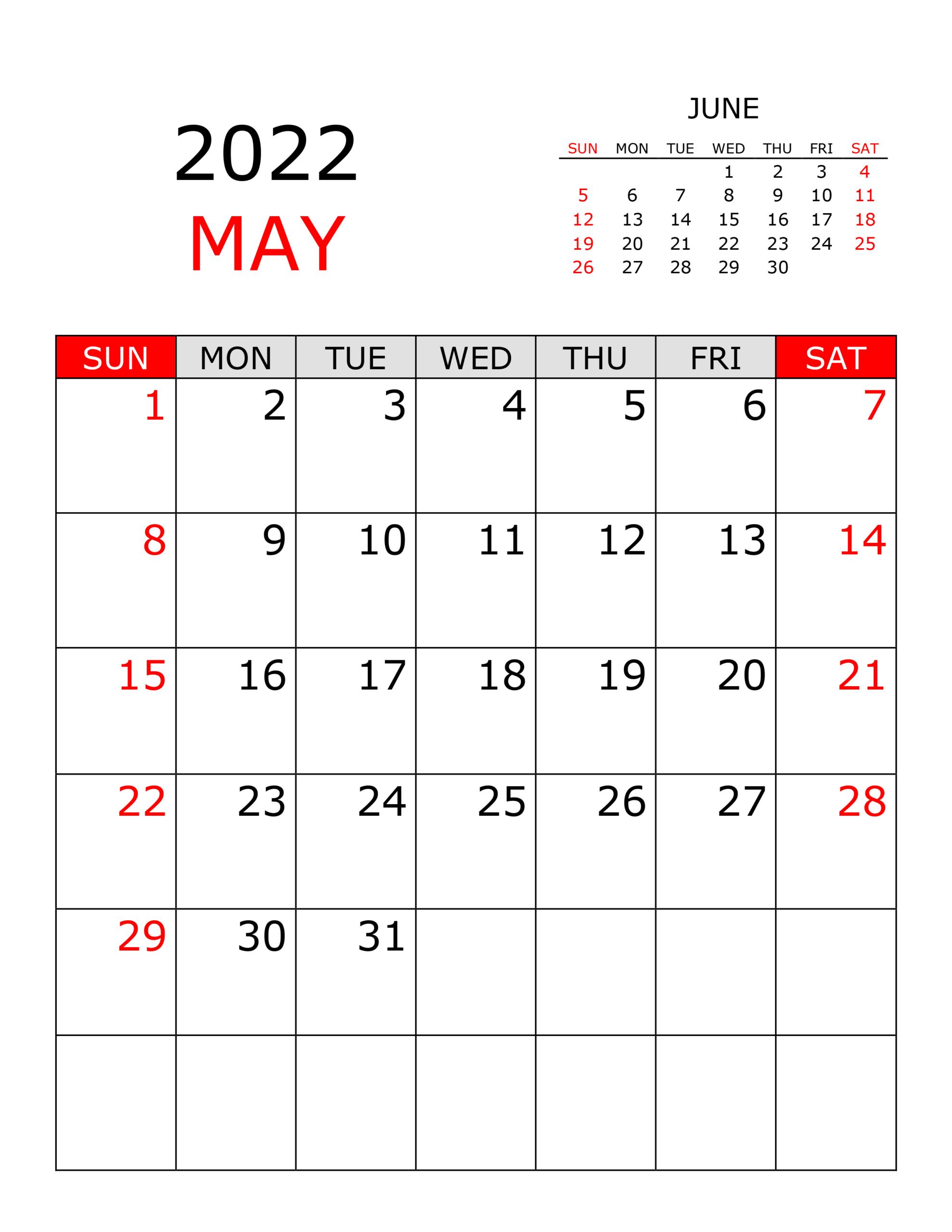 Calendar For May 2022 - Free-Calendar.su for May 2022 Calendar Printable Photo