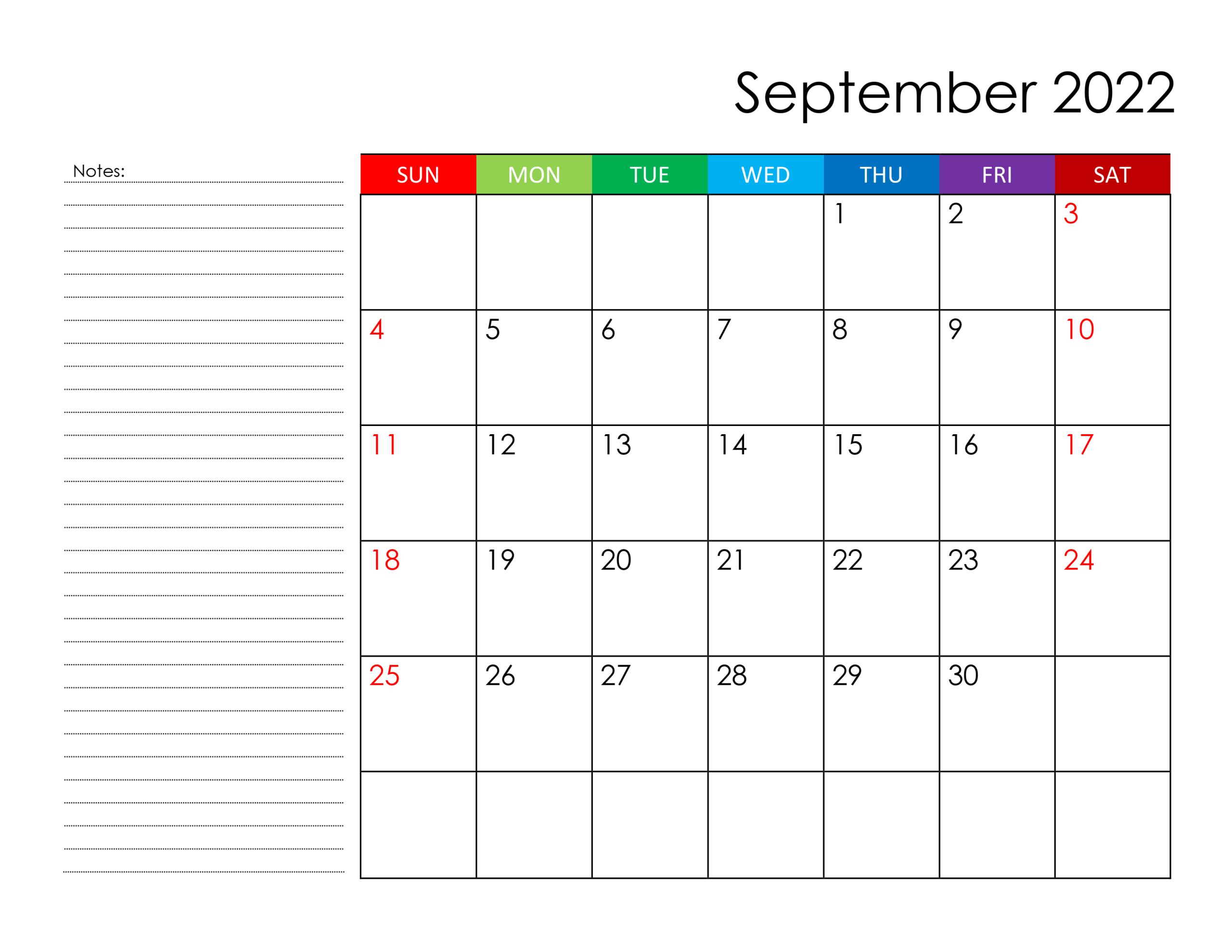 Calendar For September 2022 - Free-Calendar.su within Print Month Calendar September 2022 Image