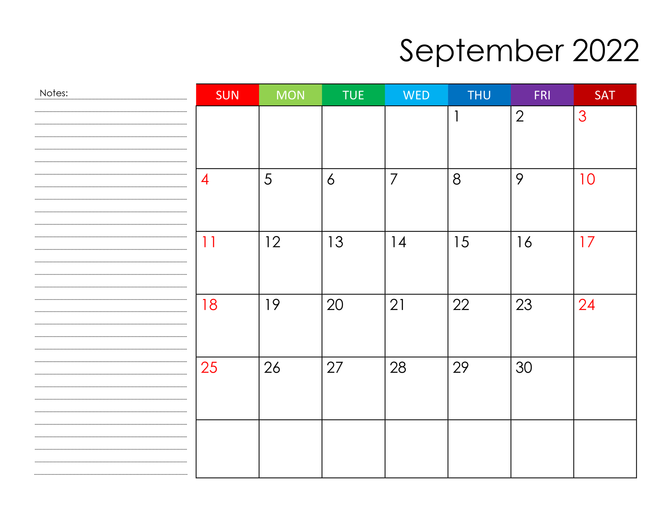 Calendar For September 2022 - Free-Calendar.su within September 2022 Calendar Template