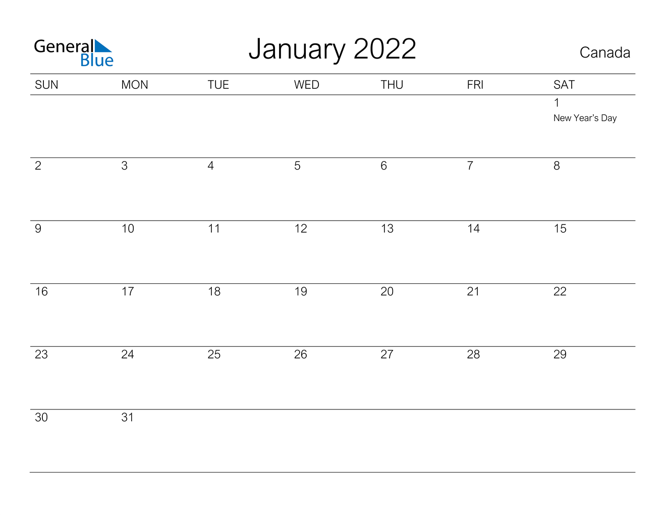 Canada January 2022 Calendar With Holidays inside January 2022 Printable Calendar Photo