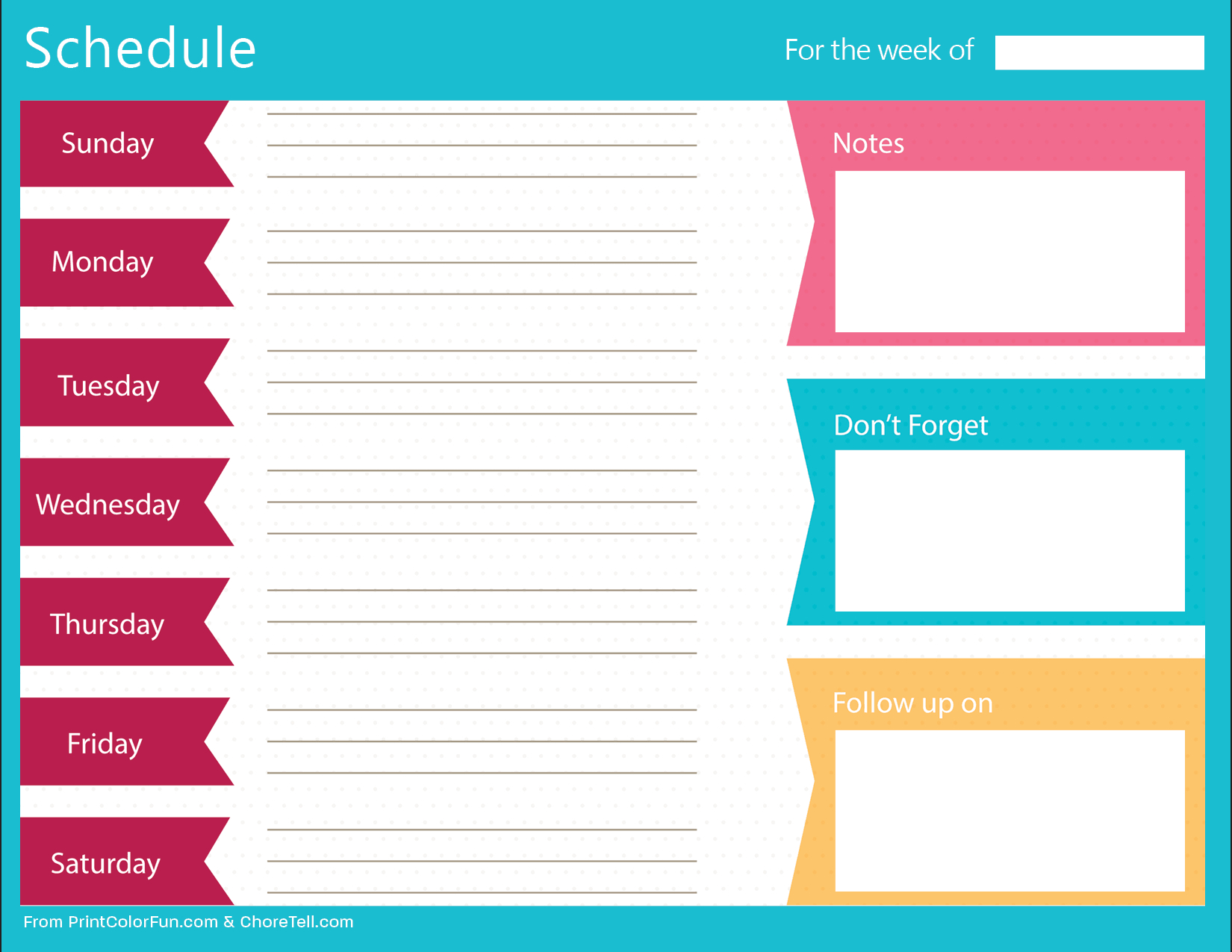 Clean, Bold Printable Weekly Schedule Planner - Free intended for Weekly Planner Printable Free Photo